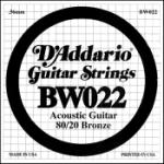 Daddario   BW022  SINGLE 80/20 BRONZE WND 022