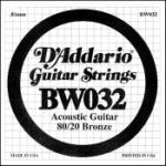 Daddario   BW032  SINGLE 80/20 BRONZE WND 032