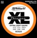 D'Addario ECG23 Chromes Flat Would Electric Guitar Strings, Extra Light, 10-48