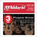 D'addario 3-PACK ACOUS GTR PHOS BRZ MED EJ17-3D