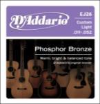 Daddario   EJ26  Custom Light .011-.052 Phosphor Bronze Guitar Strings