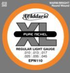 D'Addario XL Pure Nickel Electric Guitar Strings Regular Light