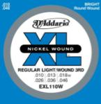 DADDARIO EXL110W Nickel Wound Electric Guitar Strings, Reg Light, Wnd 3rd, 10-46
