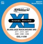 DADDARIO EXL115W Nickel Wound Electric Guitar Strings, Med, Wnd 3rd, 11-49
