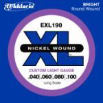 DADDARIO  EXL190 Nickel Wound Bass Guitar Strings, Custom Light, 40-100, Long Scale