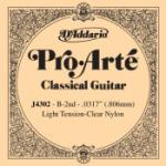 D'Addario J4302 Pro-Arte Nylon Classical Guitar Single String, Light Tension, Second String