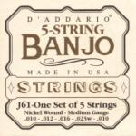 D'Addario 5 String Banjo Medium 10-23 EJ61