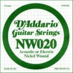 D'Addario NW020 Nickel Wound Electric Guitar Single String, .020