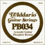 PB034 D'Addario PB030 Phosphor Bronze Wound Acoustic Guitar Single String, .034