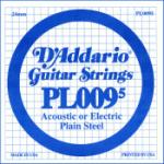 D'Addario PL0095 Plain Steel Guitar Single String, .0095