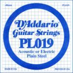 D'Addario PL019 Plain Steel Guitar Single String, .019