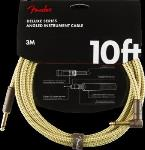 Fender 0990820091 Deluxe Series Instrument Cable, Straight/Angle, 10', Tweed