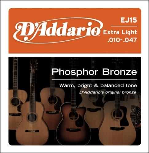 D'Addario EJ15 Phosphor Bronze Acoustic Guitar Strings, Extra Light