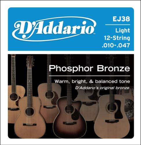 D'Addario EJ38 12-String Phosphor Bronze Acoustic Guitar Strings, Light
