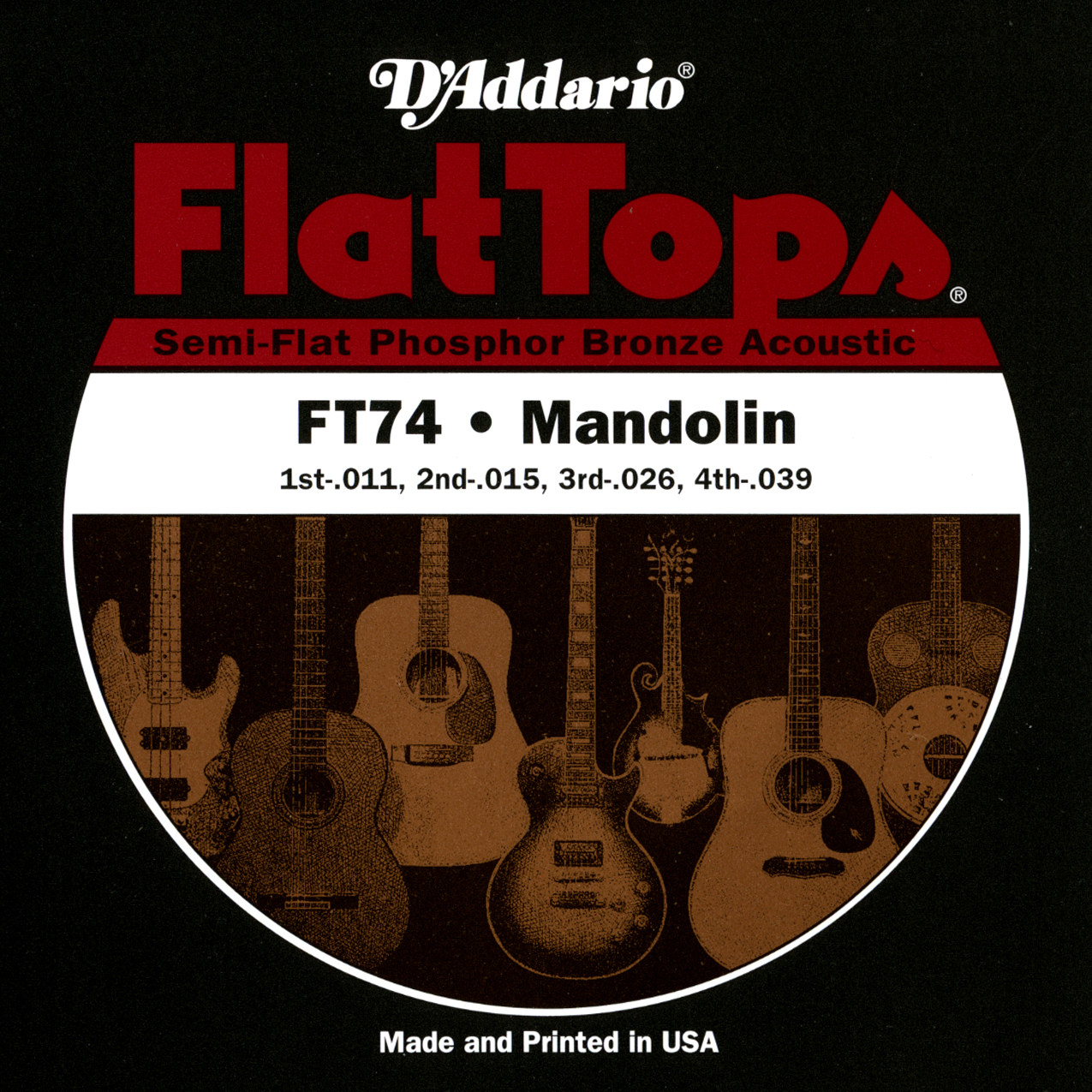 D'Addario FT74 Flat Tops Mandolin Strings, Medium, 11-39