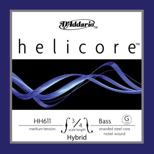 D'Addario Helicore Hybrid Bass Single G String, 3/4 Scale, Medium Tension