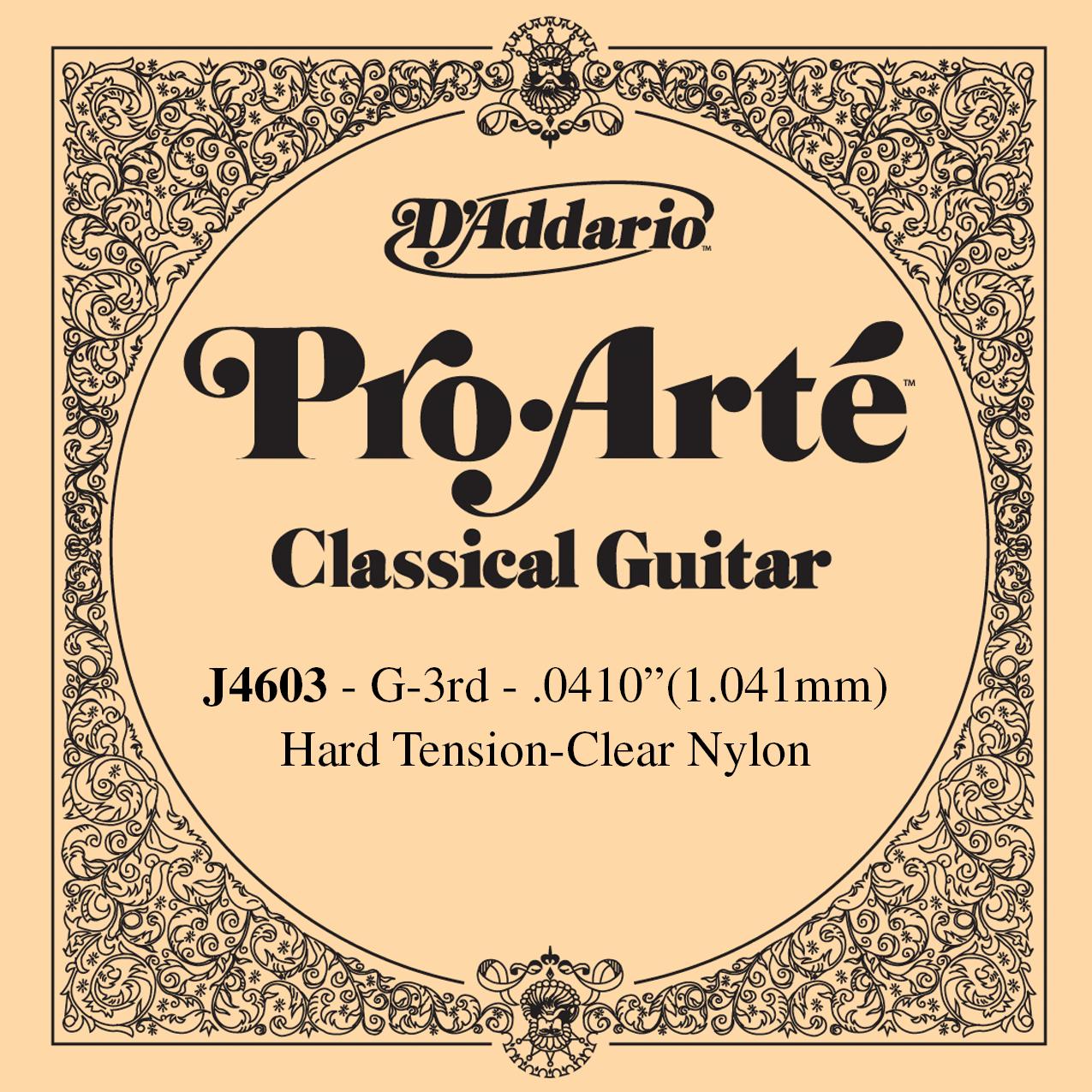 D'Addario J4603 Pro-Arte Nylon Classical Guitar Single String, Hard Tension, 3rd String G