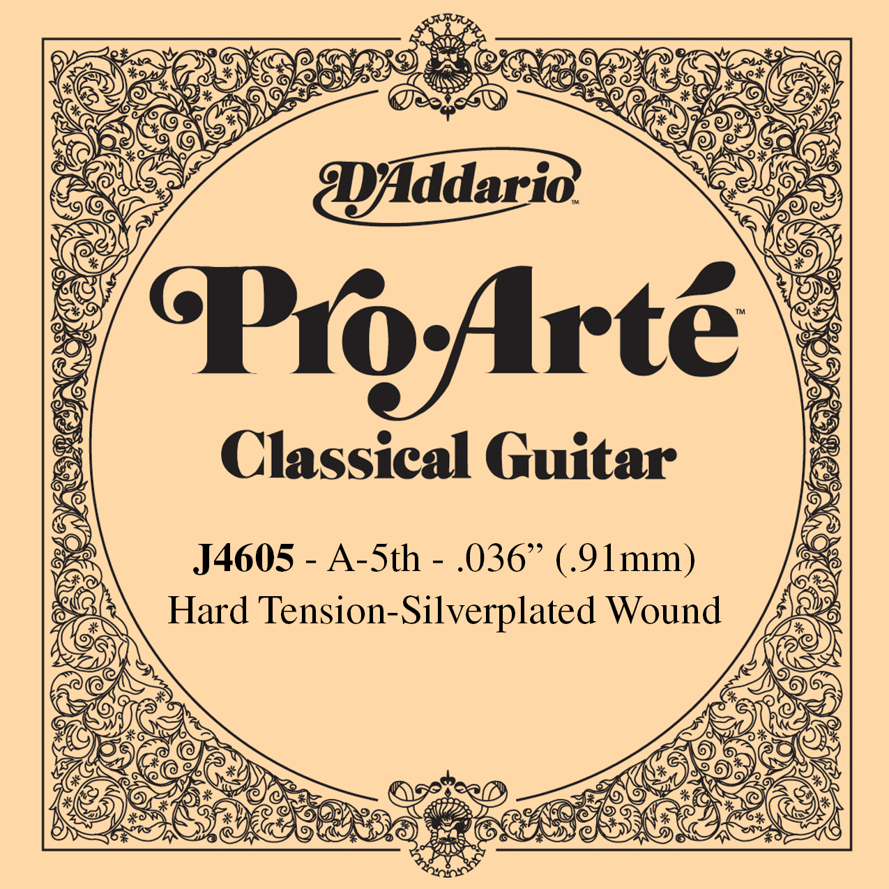 D'Addario J4605 Pro-Arte Nylon Classical Guitar Single String, Hard Tension, 5th String A