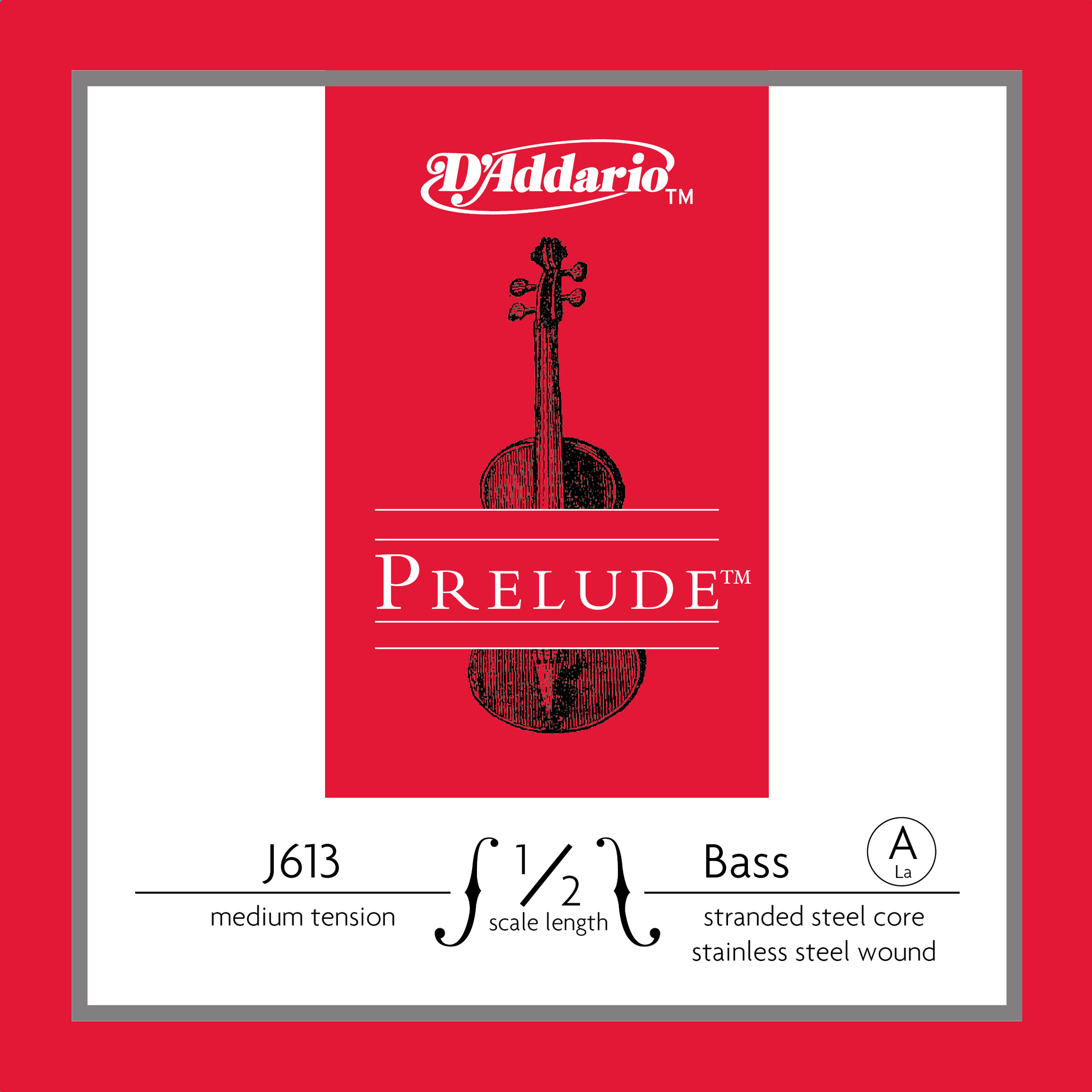 D'Addario Prelude Bass Single A String, 1/2 Scale, Medium Tension