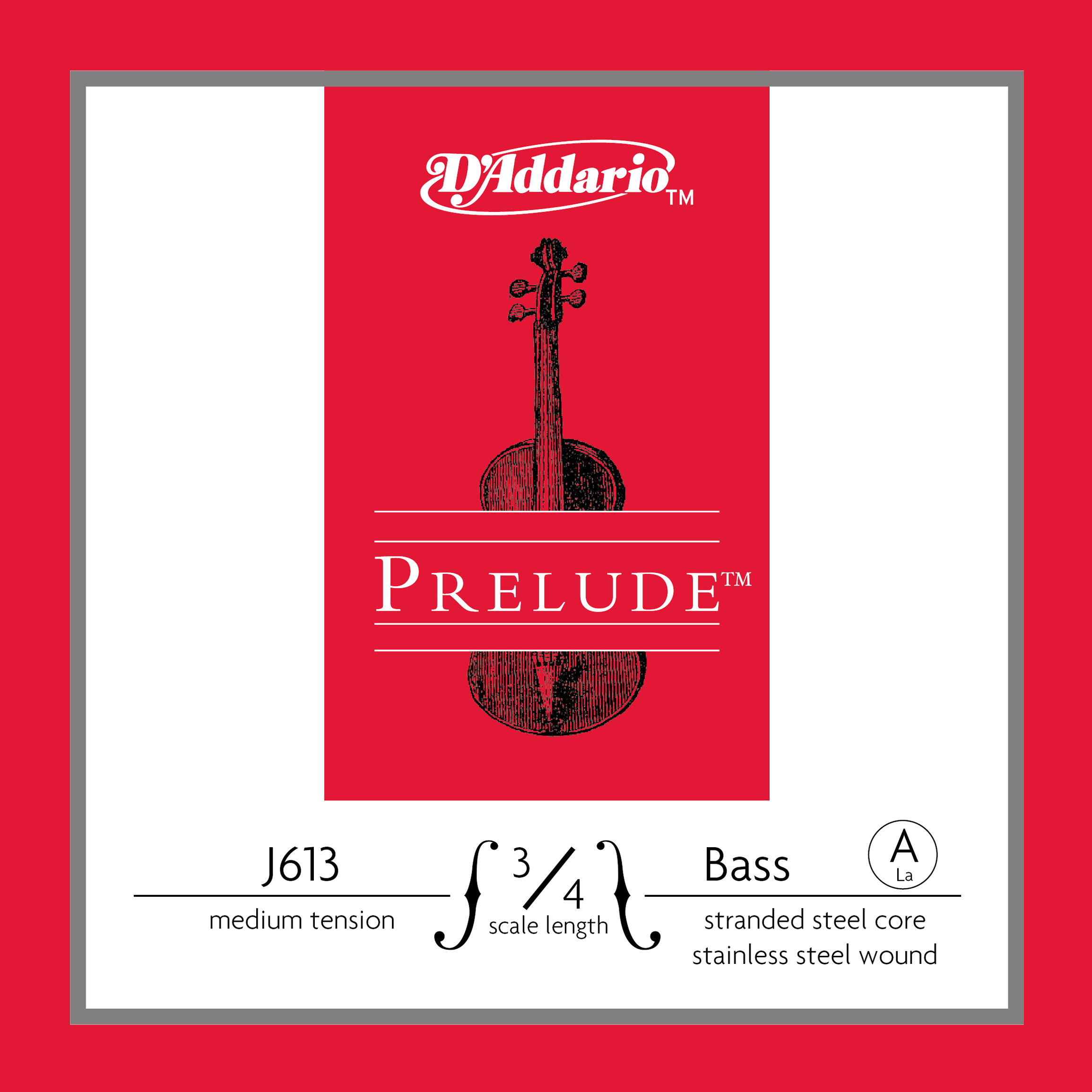D'Addario Prelude Bass Single A String, 3/4 Scale, Medium Tension