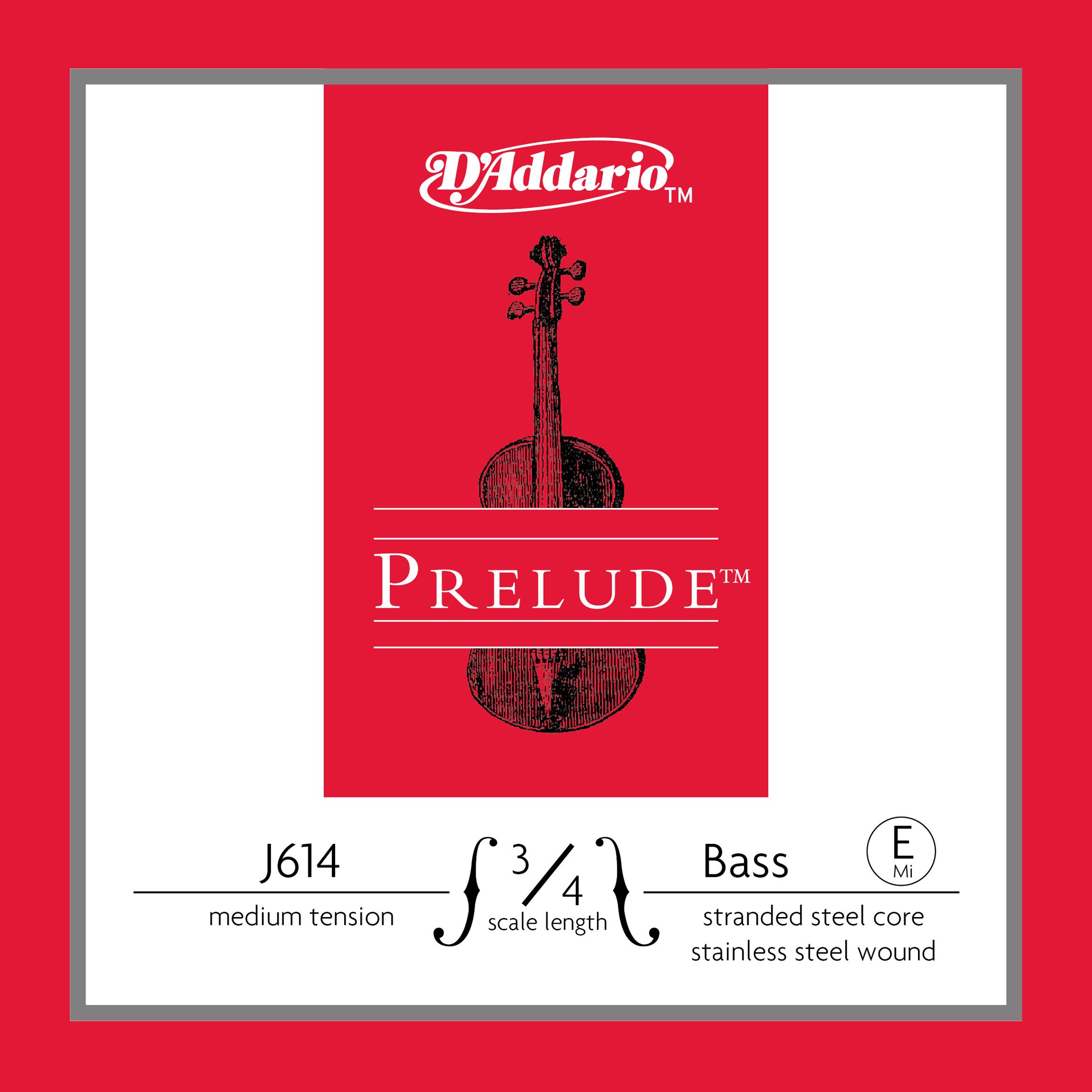 D'Addario Prelude Bass Single E String, 3/4 Scale, Medium Tension