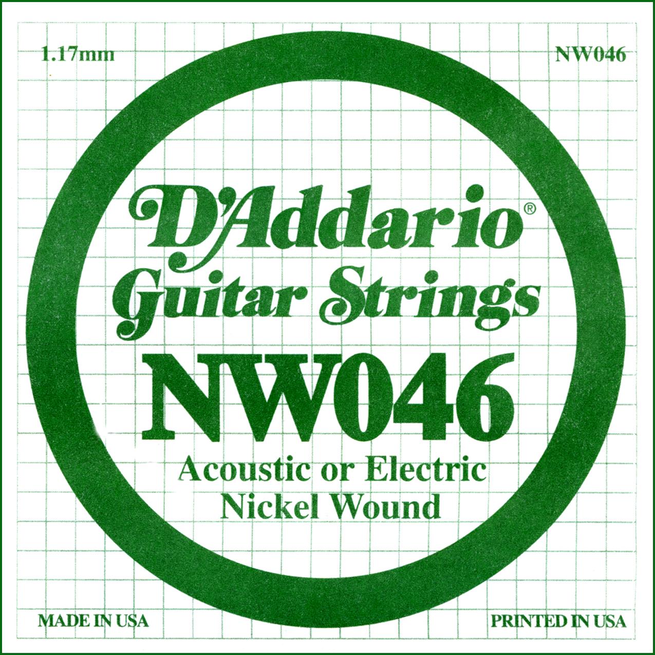 D'Addario NW046 Nickel Wound Electric Guitar Single String, .046