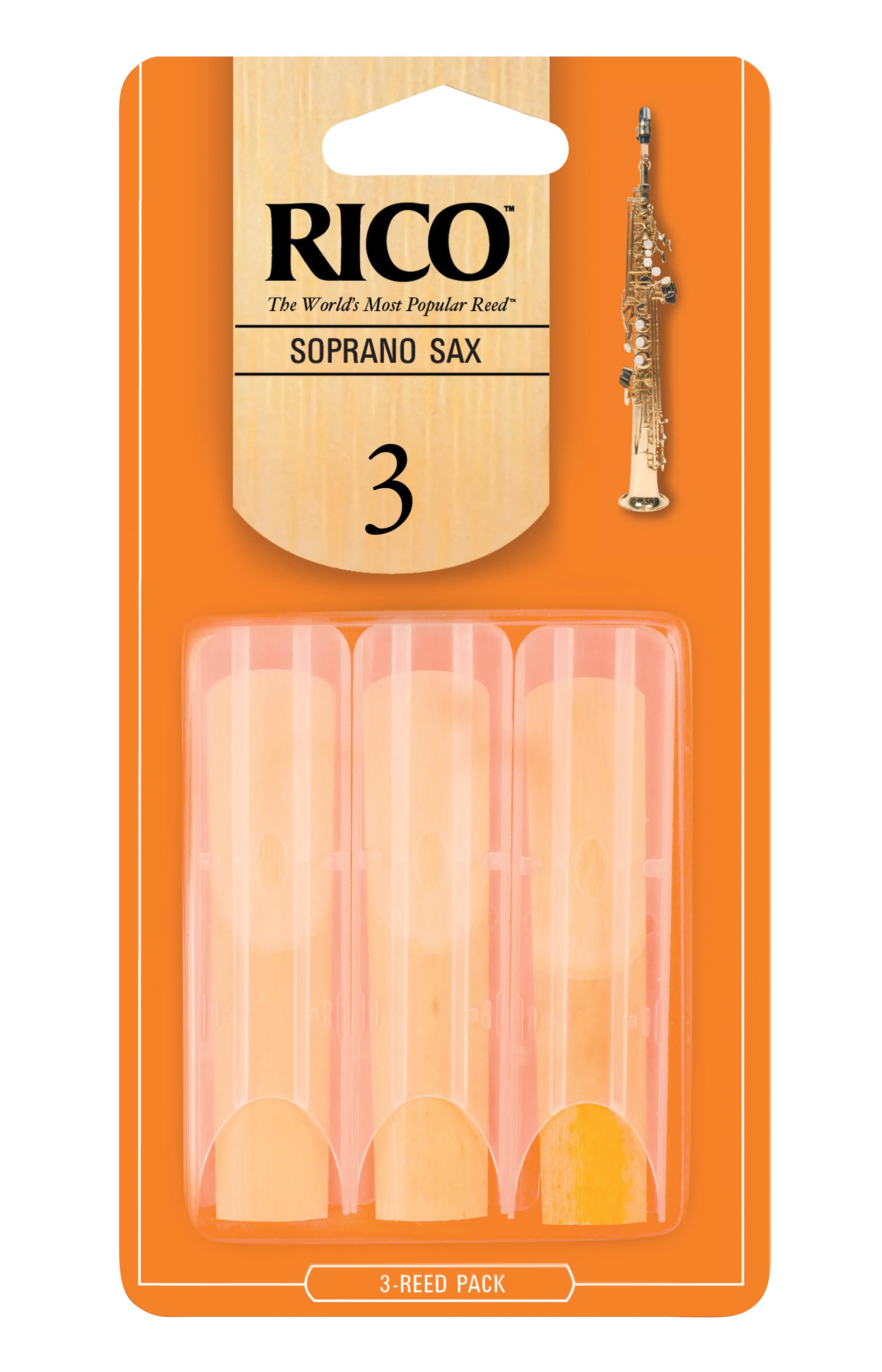 Rico Soprano Sax Reeds, Strength 3.0, 3-pack