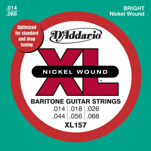 D'Addario XL157 Nickel Wound Electric Guitar Strings, Baritone Medium, 13-62