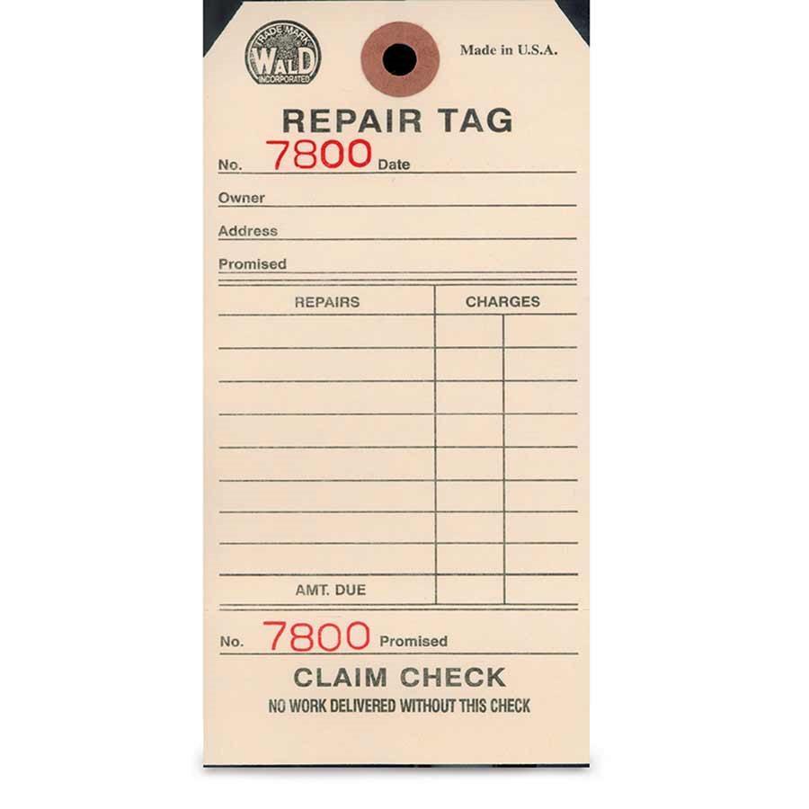 901365-01 Wald, #700 Wald Repair Tags 500/Box