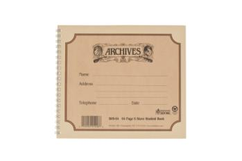 D'Addario B6S-64 Archives Spiral Bound Manuscript Paper Book, 6 Stave, 64 Pages