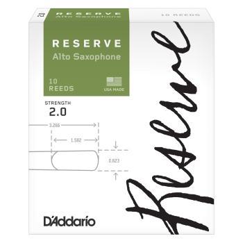 D'Addario Reserve Alto Saxophone Reeds, Strength 2.0, 10-pack DJR1020