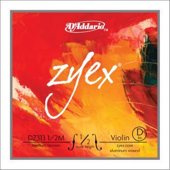 D'Addario D'Addario Zyex Violin Single D String, 1/2 Scale, Medium Tension