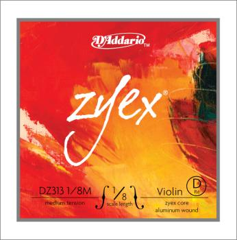 D'Addario D'Addario Zyex Violin Single D String, 1/8 Scale, Medium Tension