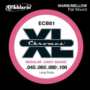 D'Addario ECB81 Bass Chromes Flat Wound Long Scale Regular Light 45-100