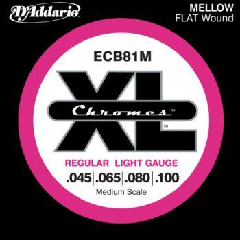 D'Addario ECB81M Chromes Bass Guitar Strings, Light, 45-100, Medium Scale