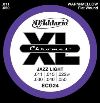 D'Addario ECG24 Chromes Flat Wound Jazz Light 11-50 Wound Third