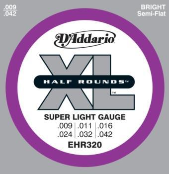 D'Addario EHR320 Half Round Electric Guitar Strings, Super Light, 9-42