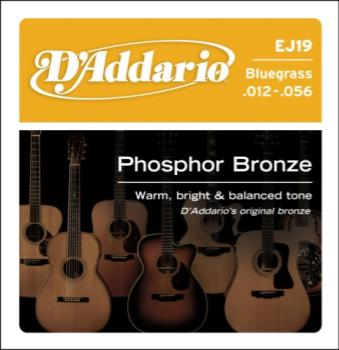 D'Addario EJ19 Phosphor Bronze Acoustic Guitar Strings, Bluegrass, 12-56