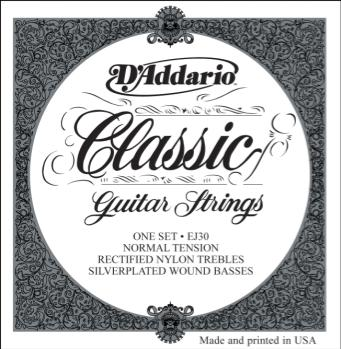 D'Addario EJ30 Classics Rectified Classical Guitar Strings, Normal Tension