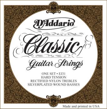 D'Addario EJ31 Classics Rectified Classical Guitar Strings, Hard Tension
