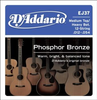 D'Addario EJ37 12-String Phosphor Bronze Acoustic Guitar Strings, Medium Top/Heavy Bottom, 12-54