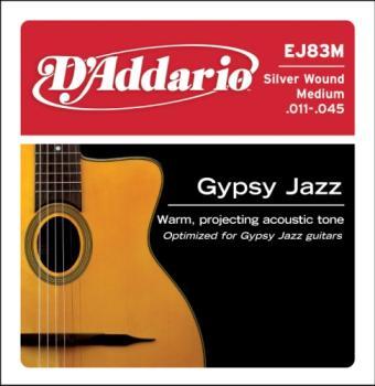 D'Addario EJ83M Gypsy Jazz Acoustic Guitar Strings, Ball End, Medium, 11-35