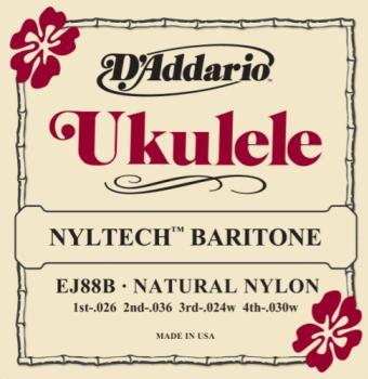 D'Addario EJ88B Nyltech Ukulele Strings, Baritone