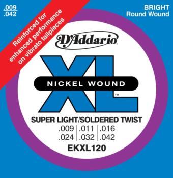 D'Addario EKXL120 Nickel Wound Electric Guitar Strings, Super Light, Reinforced, 9-42