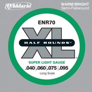 D'Addario ENR70 Half Round Bass Guitar Strings, Super Light,  40-95, Long Scale