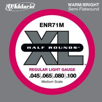 D'Addario ENR71M Half Round Bass Guitar Strings, Regular Light, 45-100, Medium Scale
