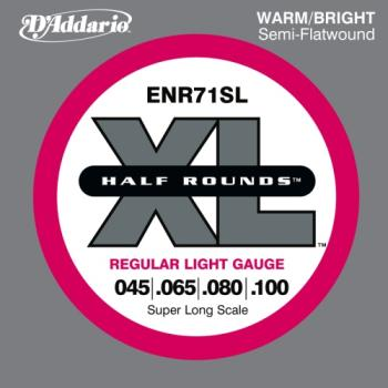 D'Addario ENR71SL Half Round Bass Guitar Strings, Regular Light, 45-100, Super Long Scale