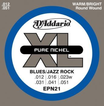 D'Addario EPN21 Pure Nickel Electric Guitar Strings, Jazz Light, 12-52