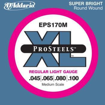 D'Addario EPS170M ProSteels Bass Guitar Strings, Light, 45-100, Medium Scale