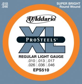 D'Addario EPS510 ProSteels Electric Guitar Strings, Regular Light, 10-46